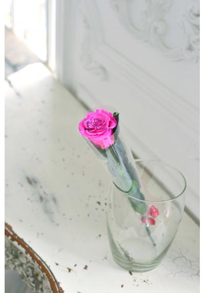 Стабилизированная роза на стебле, бутон 6 см, ярко-розовая