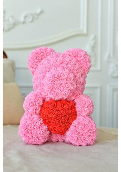 Мишка из роз 40 см, розовый, с красным сердцем