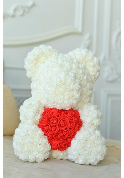 Мишка из роз 40 см, белый, с красным сердцем