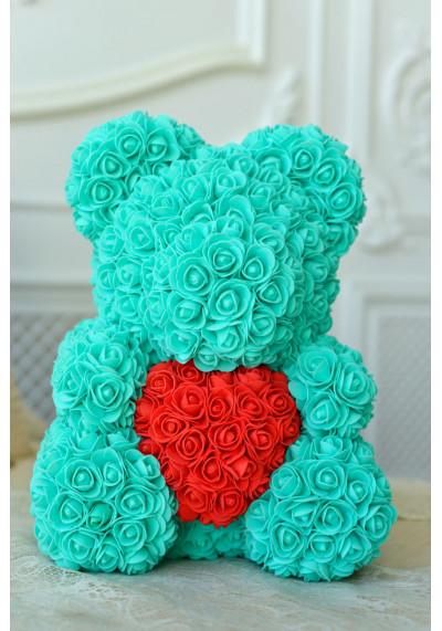 Мишка из роз 40 см, тиффани, с красным сердцем