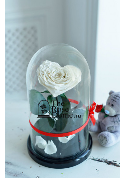 Роза в колбе, колба Premium бутон 11 см (сердце), белая