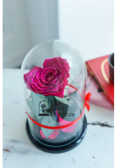 Роза в колбе, колба Premium бутон 11 см (сердце), фуксия