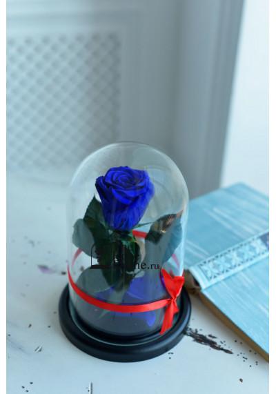 Роза в колбе, колба Mini, бутон 6 см, темно-синяя