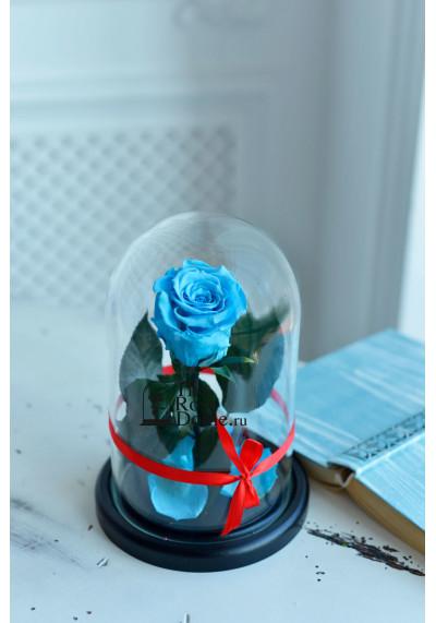 Роза в колбе, колба Mini, бутон 6 см, голубая