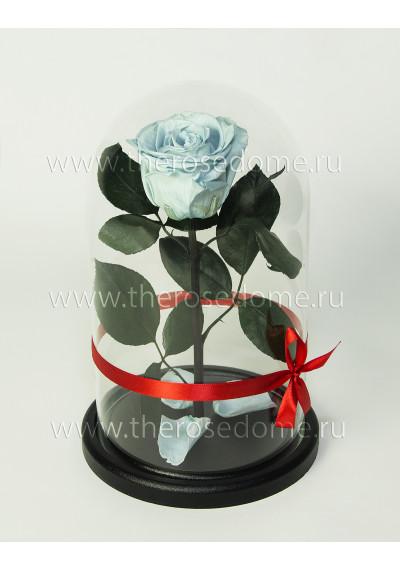Роза в колбе, колба Premium, бутон 8 см, светло-голубой